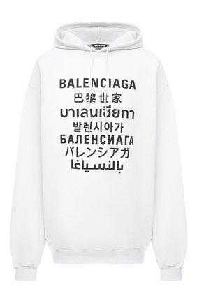 Мужской хлопковое худи BALENCIAGA белого цвета, арт. 641679/TJVI6 | Фото 1