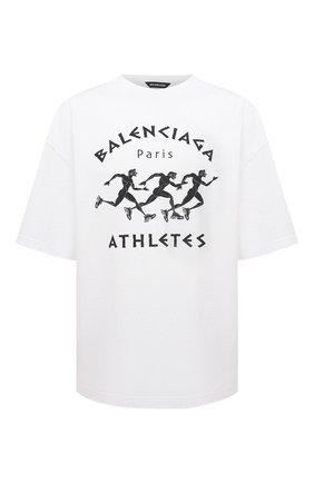 Мужская хлопковая футболка BALENCIAGA белого цвета, арт. 641614/TJVK6 | Фото 1 (Длина (для топов): Удлиненные; Материал внешний: Хлопок; Рукава: Короткие; Стили: Гранж; Принт: С принтом)
