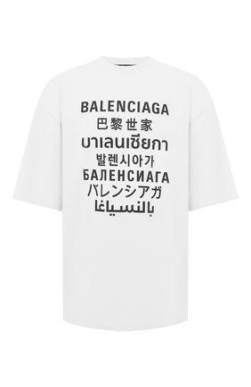 Мужская хлопковая футболка BALENCIAGA белого цвета, арт. 641614/TJVI3 | Фото 1 (Материал внешний: Хлопок, Синтетический материал; Длина (для топов): Удлиненные; Принт: С принтом; Рукава: Короткие; Стили: Гранж)
