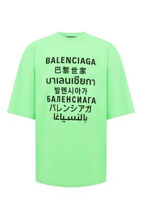 Мужская хлопковая футболка BALENCIAGA зеленого цвета, арт. 641614/TJVI3 | Фото 1 (Длина (для топов): Удлиненные; Материал внешний: Хлопок, Синтетический материал; Рукава: Короткие; Стили: Гранж; Принт: С принтом)