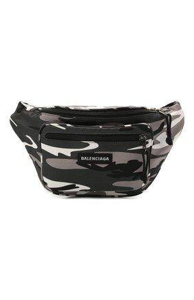 Мужская текстильная поясная сумка explorer BALENCIAGA серого цвета, арт. 482389/2BKIX   Фото 1 (Материал: Текстиль)