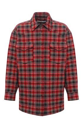 Мужская утепленная куртка-рубашка ACNE STUDIOS красного цвета, арт. B90522 | Фото 1