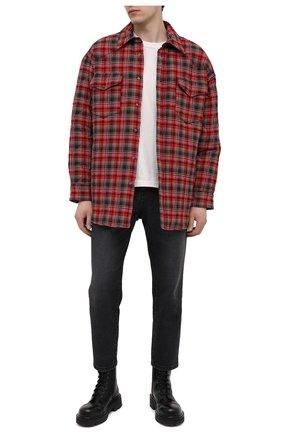 Мужская утепленная куртка-рубашка ACNE STUDIOS красного цвета, арт. B90522 | Фото 2