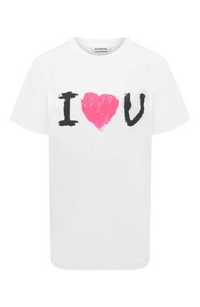 Женская хлопковая футболка BALENCIAGA белого цвета, арт. 612965/TJVL5 | Фото 1