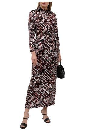 Женское шелковое платье KITON коричневого цвета, арт. D51312K09T77 | Фото 2