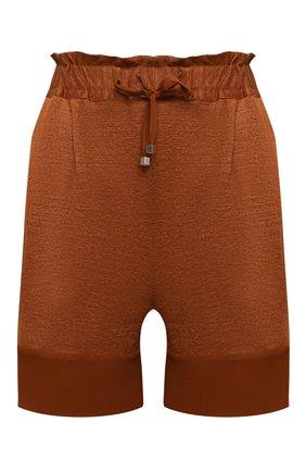 Женские льняные шорты KITON коричневого цвета, арт. D51117TK09T94 | Фото 1