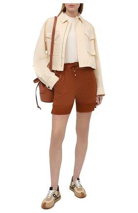Женские льняные шорты KITON коричневого цвета, арт. D51117TK09T94 | Фото 2