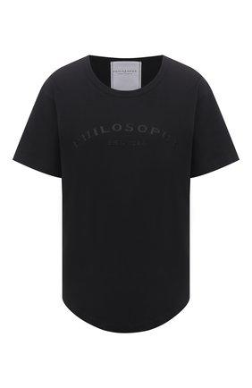 Женская хлопковая футболка PHILOSOPHY DI LORENZO SERAFINI черного цвета, арт. A0709/746 | Фото 1