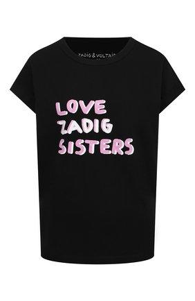 Женская хлопковая футболка ZADIG&VOLTAIRE черного цвета, арт. WJTS1814F | Фото 1