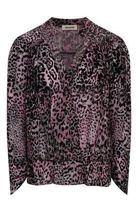 Женская блузка из вискозы и шелка ZADIG&VOLTAIRE леопардового цвета, арт. SKCS0501F   Фото 1