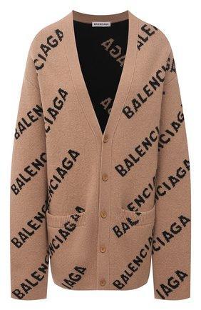 Женский шерстяной кардиган BALENCIAGA бежевого цвета, арт. 652394/T1567 | Фото 1