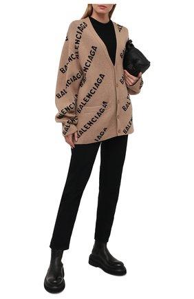 Женский шерстяной кардиган BALENCIAGA бежевого цвета, арт. 652394/T1567 | Фото 2