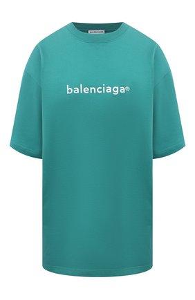 Женская хлопковая футболка BALENCIAGA бирюзового цвета, арт. 641655/TIV54 | Фото 1