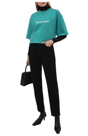 Женская хлопковая футболка BALENCIAGA бирюзового цвета, арт. 641655/TIV54 | Фото 2
