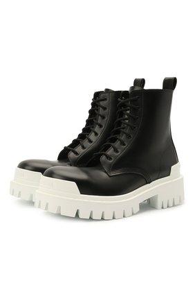 Женские кожаные ботинки strike BALENCIAGA черного цвета, арт. 590974/WA967 | Фото 1