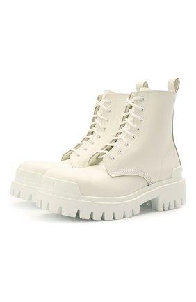 Женские кожаные ботинки strike BALENCIAGA белого цвета, арт. 590974/WA967 | Фото 1