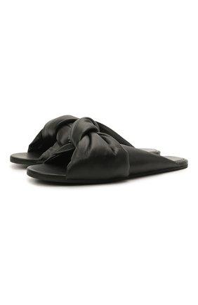 Женские кожаные шлепанцы drapy BALENCIAGA черного цвета, арт. 636576/WA2M0 | Фото 1 (Материал внутренний: Натуральная кожа; Подошва: Плоская)