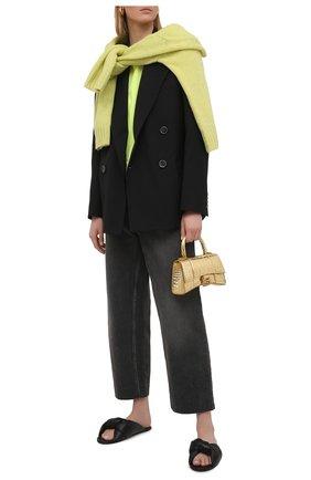 Женские кожаные шлепанцы drapy BALENCIAGA черного цвета, арт. 636576/WA2M0 | Фото 2 (Материал внутренний: Натуральная кожа; Подошва: Плоская)
