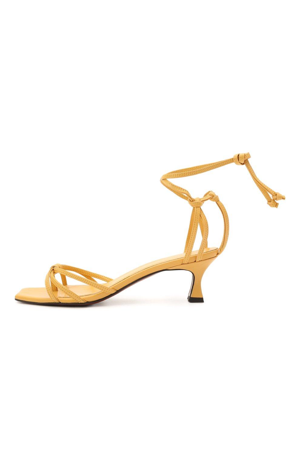 Женские кожаные босоножки MANU ATELIER желтого цвета, арт. 2021140 | Фото 3 (Каблук высота: Низкий; Материал внутренний: Натуральная кожа; Каблук тип: Устойчивый; Подошва: Плоская)