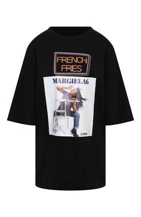 Женская хлопковая футболка MM6 черного цвета, арт. S52GC0174/S23588 | Фото 1