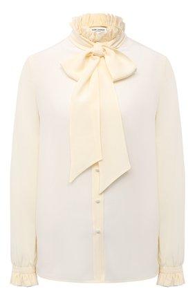 Женская шелковая блузка SAINT LAURENT светло-бежевого цвета, арт. 646010/Y100W | Фото 1 (Рукава: Длинные; Материал внешний: Шелк; Длина (для топов): Стандартные; Принт: Без принта; Женское Кросс-КТ: Блуза-одежда; Стили: Романтичный)