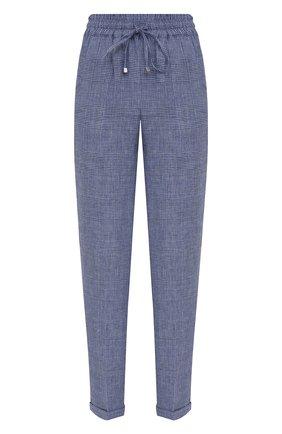 Женские льняные брюки KITON голубого цвета, арт. D37102S06424 | Фото 1