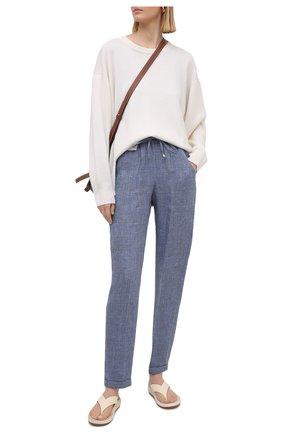 Женские льняные брюки KITON голубого цвета, арт. D37102S06424 | Фото 2