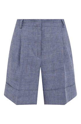 Женские льняные шорты KITON голубого цвета, арт. D47117S06424 | Фото 1