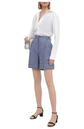 Женские льняные шорты KITON голубого цвета, арт. D47117S06424 | Фото 2