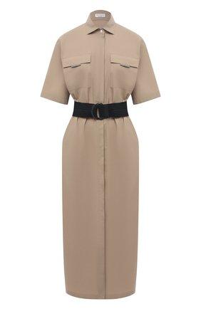 Женское хлопковое платье BRUNELLO CUCINELLI бежевого цвета, арт. MH127AFM24   Фото 1