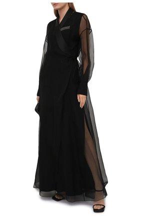 Женское шелковое платье BRUNELLO CUCINELLI черного цвета, арт. MF940ADP81 | Фото 2
