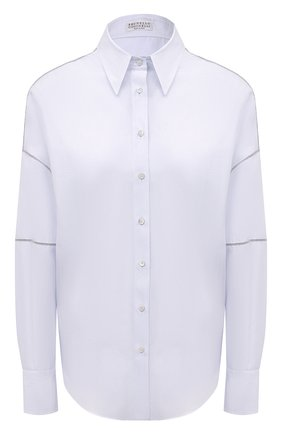 Женская рубашка из хлопка и шелка BRUNELLO CUCINELLI голубого цвета, арт. MF766NF506 | Фото 1