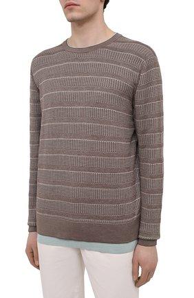 Мужской джемпер из шелка и хлопка ERMENEGILDO ZEGNA коричневого цвета, арт. UWF97/110 | Фото 3