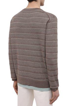 Мужской джемпер из шелка и хлопка ERMENEGILDO ZEGNA коричневого цвета, арт. UWF97/110 | Фото 4