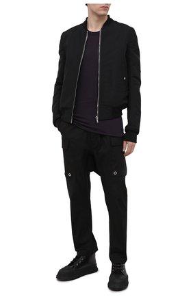 Мужская хлопковая футболка RICK OWENS темно-фиолетового цвета, арт. RU21S6251/JA | Фото 2