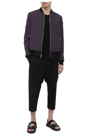 Мужская хлопковая футболка RICK OWENS черного цвета, арт. RU21S6251/JA | Фото 2