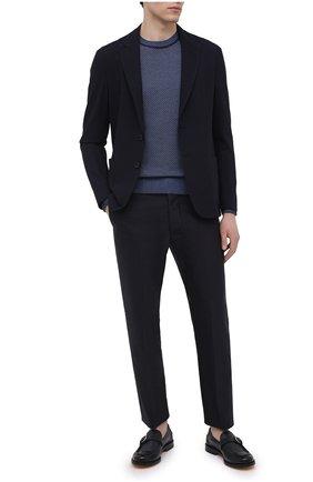Мужские кожаные лоферы DOUCAL'S темно-синего цвета, арт. DU2855GRANUY196NB00   Фото 2