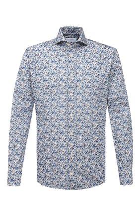Мужская хлопковая сорочка ETON синего цвета, арт. 1000 02052 | Фото 1 (Рукава: Длинные; Длина (для топов): Стандартные; Материал внешний: Хлопок; Случай: Формальный; Стили: Классический; Принт: С принтом; Воротник: Акула; Рубашки М: Slim Fit; Манжеты: На пуговицах)