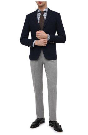 Мужская хлопковая сорочка ETON синего цвета, арт. 1000 02052 | Фото 2 (Рукава: Длинные; Длина (для топов): Стандартные; Материал внешний: Хлопок; Случай: Формальный; Стили: Классический; Принт: С принтом; Воротник: Акула; Рубашки М: Slim Fit; Манжеты: На пуговицах)