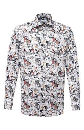 Мужская хлопковая сорочка ETON серого цвета, арт. 1000 02211   Фото 1 (Материал внешний: Хлопок; Длина (для топов): Стандартные; Рукава: Длинные; Случай: Формальный; Стили: Классический; Принт: С принтом; Воротник: Акула; Рубашки М: Regular Fit; Манжеты: На пуговицах)
