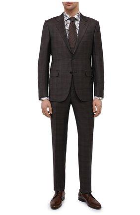 Мужская хлопковая сорочка ETON серого цвета, арт. 1000 02211   Фото 2 (Материал внешний: Хлопок; Длина (для топов): Стандартные; Рукава: Длинные; Случай: Формальный; Стили: Классический; Принт: С принтом; Воротник: Акула; Рубашки М: Regular Fit; Манжеты: На пуговицах)