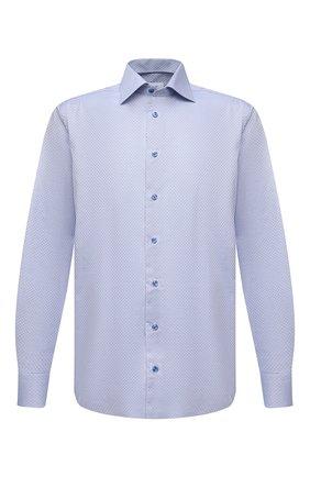 Мужская хлопковая сорочка ETON синего цвета, арт. 1000 02231 | Фото 1 (Рукава: Длинные; Материал внешний: Хлопок; Длина (для топов): Стандартные; Случай: Формальный; Стили: Классический; Воротник: Акула; Рубашки М: Regular Fit; Манжеты: На пуговицах; Принт: Клетка)