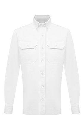 Мужская хлопковая рубашка TOM FORD белого цвета, арт. QFT090/94UDAN | Фото 1 (Материал внешний: Хлопок; Длина (для топов): Стандартные; Случай: Повседневный; Воротник: Button down; Принт: Однотонные; Рубашки М: Slim Fit; Стили: Кэжуэл; Рукава: Длинные; Манжеты: На пуговицах)