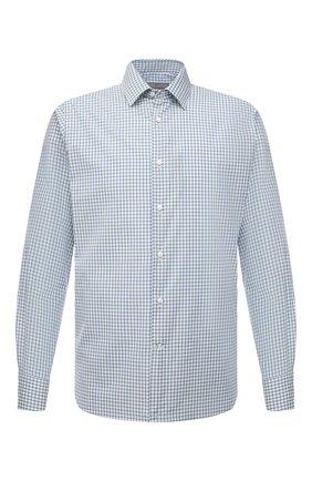 Мужская хлопковая сорочка CANALI зеленого цвета, арт. 7714/GX02172 | Фото 1 (Материал внешний: Хлопок; Длина (для топов): Стандартные; Рукава: Длинные; Случай: Формальный; Стили: Классический; Воротник: Кент; Рубашки М: Regular Fit; Манжеты: На пуговицах; Принт: Клетка)