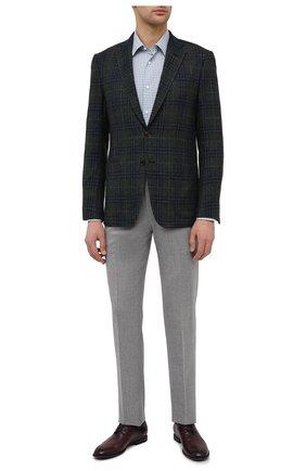 Мужская хлопковая сорочка CANALI зеленого цвета, арт. 7714/GX02172 | Фото 2 (Материал внешний: Хлопок; Длина (для топов): Стандартные; Рукава: Длинные; Случай: Формальный; Стили: Классический; Воротник: Кент; Рубашки М: Regular Fit; Манжеты: На пуговицах; Принт: Клетка)