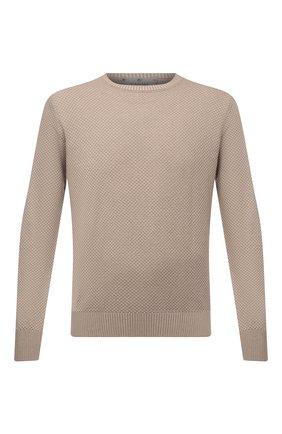 Мужской хлопковый свитер CANALI бежевого цвета, арт. C0775/MK01137   Фото 1