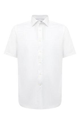 Мужская хлопковая сорочка CANALI белого цвета, арт. N618/GR01585 | Фото 1 (Рукава: Короткие; Материал внешний: Хлопок; Длина (для топов): Стандартные; Случай: Формальный; Стили: Классический; Воротник: Акула; Рубашки М: Slim Fit; Принт: Однотонные)