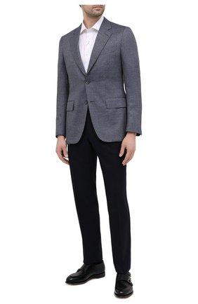 Мужская хлопковая сорочка CANALI белого цвета, арт. N618/GR01585 | Фото 2 (Рукава: Короткие; Материал внешний: Хлопок; Длина (для топов): Стандартные; Случай: Формальный; Стили: Классический; Воротник: Акула; Рубашки М: Slim Fit; Принт: Однотонные)