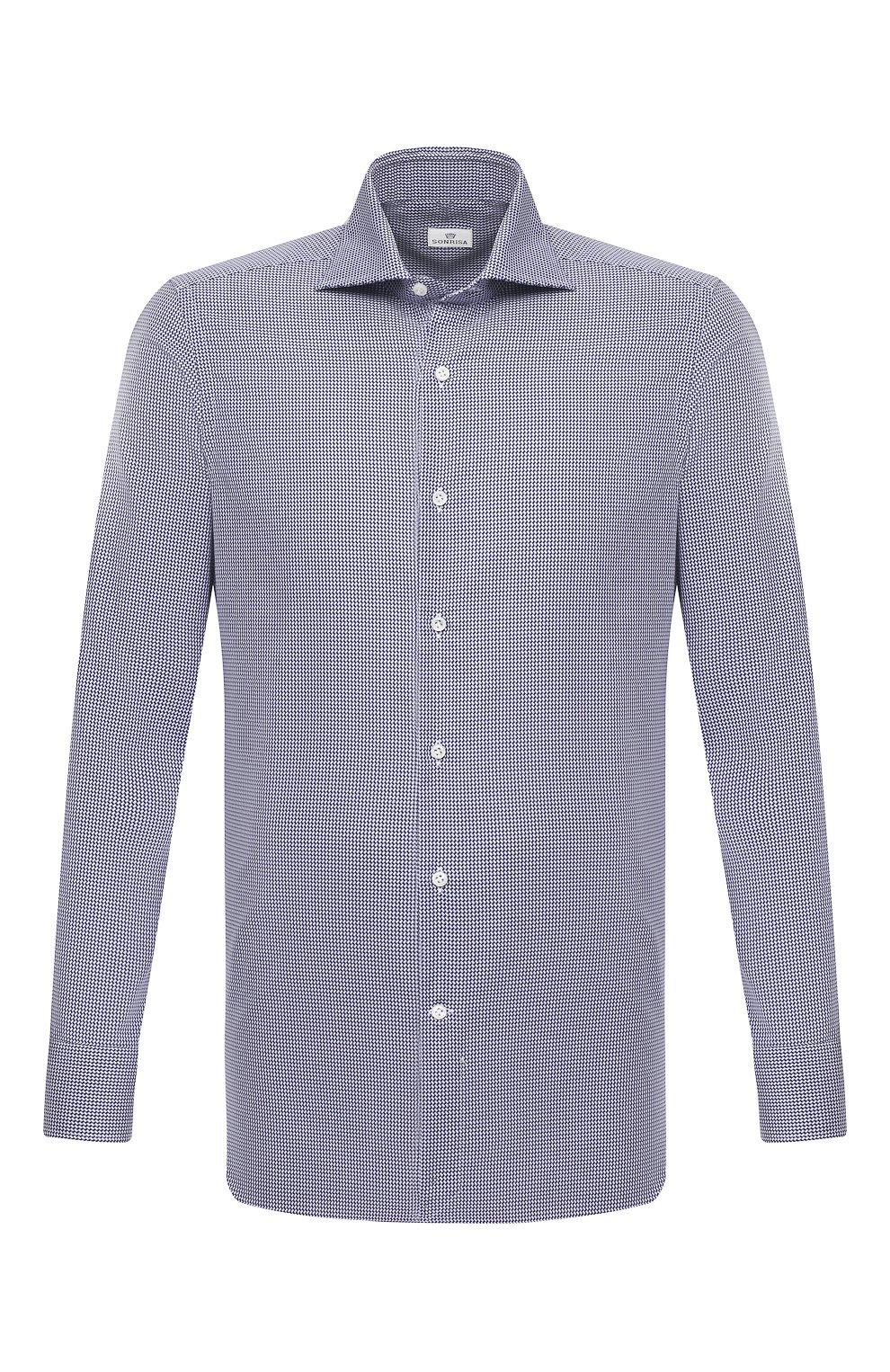 Мужская хлопковая сорочка SONRISA синего цвета, арт. I19/C4008   Фото 1 (Манжеты: На пуговицах; Принт: Клетка; Рукава: Длинные; Воротник: Акула; Длина (для топов): Стандартные; Рубашки М: Slim Fit; Материал внешний: Хлопок; Стили: Классический; Случай: Формальный)