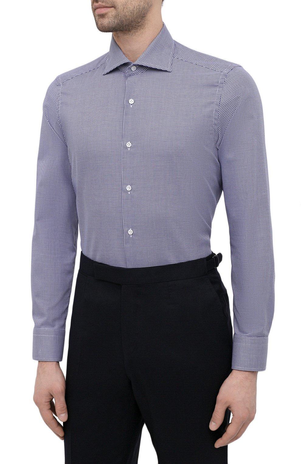Мужская хлопковая сорочка SONRISA синего цвета, арт. I19/C4008   Фото 3 (Манжеты: На пуговицах; Принт: Клетка; Рукава: Длинные; Воротник: Акула; Длина (для топов): Стандартные; Рубашки М: Slim Fit; Материал внешний: Хлопок; Стили: Классический; Случай: Формальный)